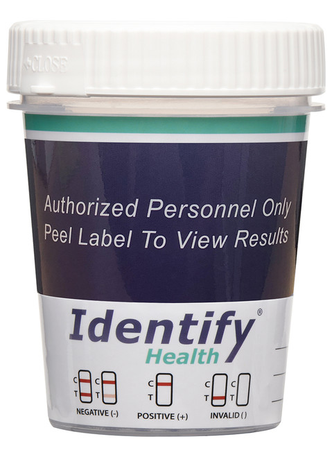 Identify Health Drug Test Cup - Front of cup with peel label
