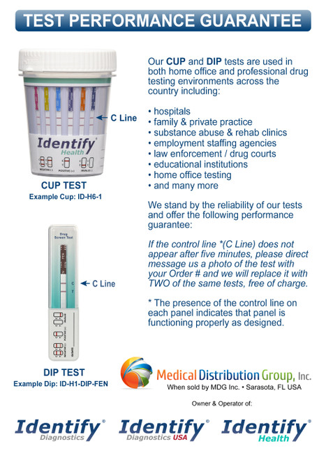 Identify Health Drug Test Cups and Dips - PERFORMANCE GUARANTEE