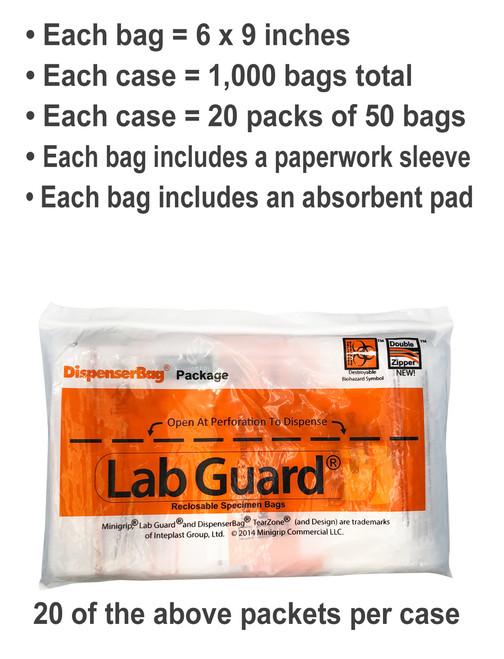 Details - Lab Guard SBL2AP69B Polyethylene Specimen Bag with TearZone and Absorbent Pad, Destroyable Biohazard Symbol 1,000 bags