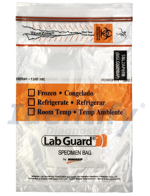 Lab Guard SBL2AP69B Polyethylene Specimen Bag with TearZone and Absorbent Pad, Destroyable Biohazard Symbol 1,000 bags
