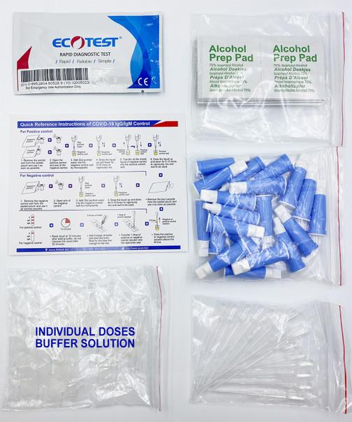 Ecotest COVID-19 CLIA Waived Coronavirus Antibody Test - IgGIgM Rapid Blood Screen Cassette -  Identify Diagnostics - Box Contents, also includes product literature insert