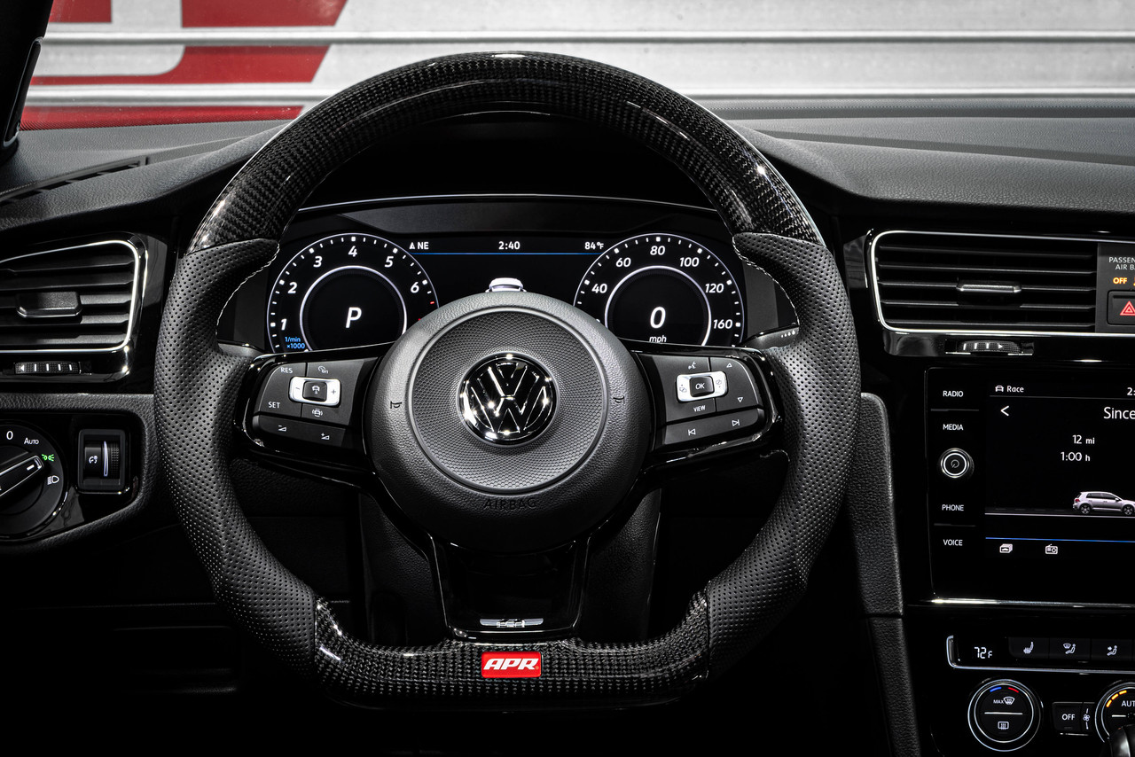 APR Steering Wheel - Carbon Fiber & Perforated Leather with Silver Stiching -Fits MK7/7.5  GTI/R & MK7 Jettas GLI  (For use with Paddles)