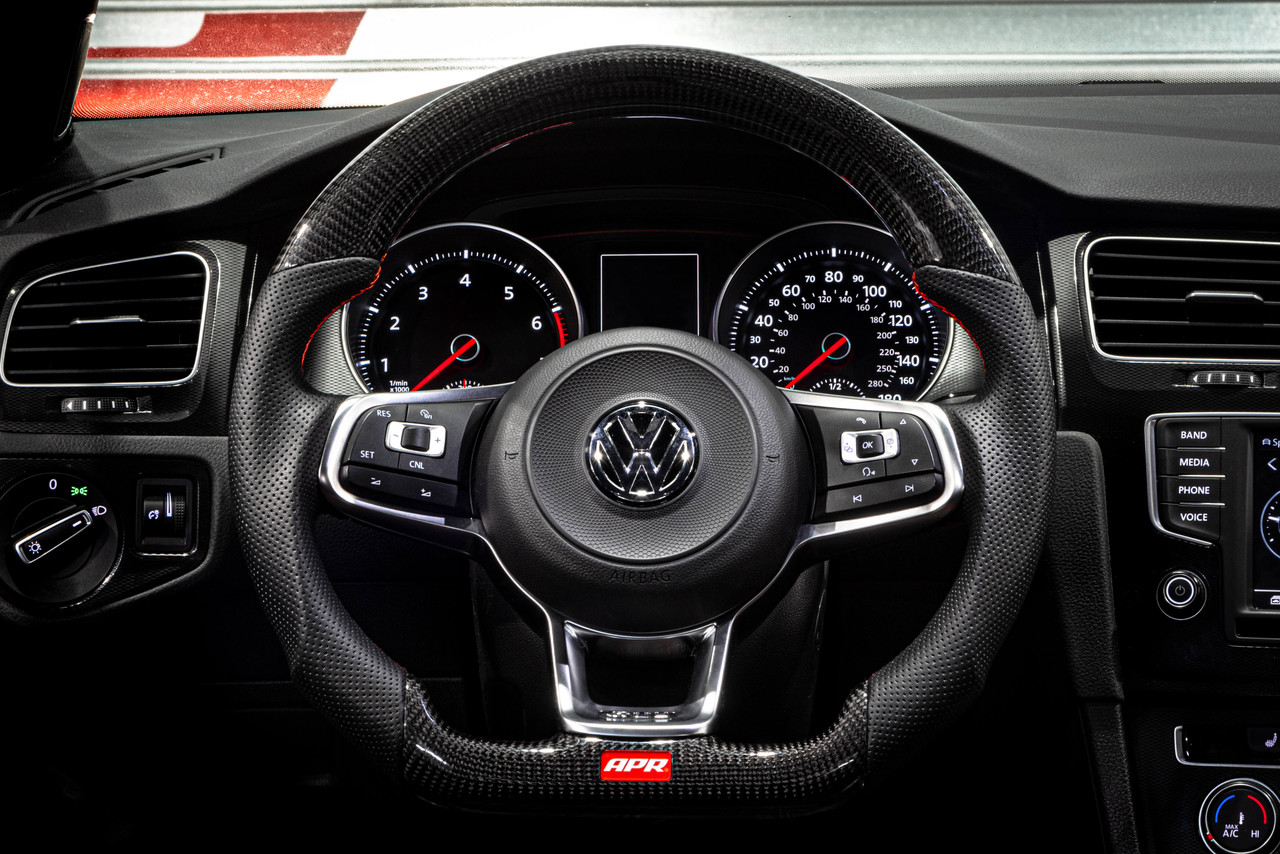 APR Steering Wheel - Carbon Fiber & Perforated Leather with Red Stiching -Fits MK7/7.5  GTI/R & MK7 Jettas GLI  (For use without Paddles)