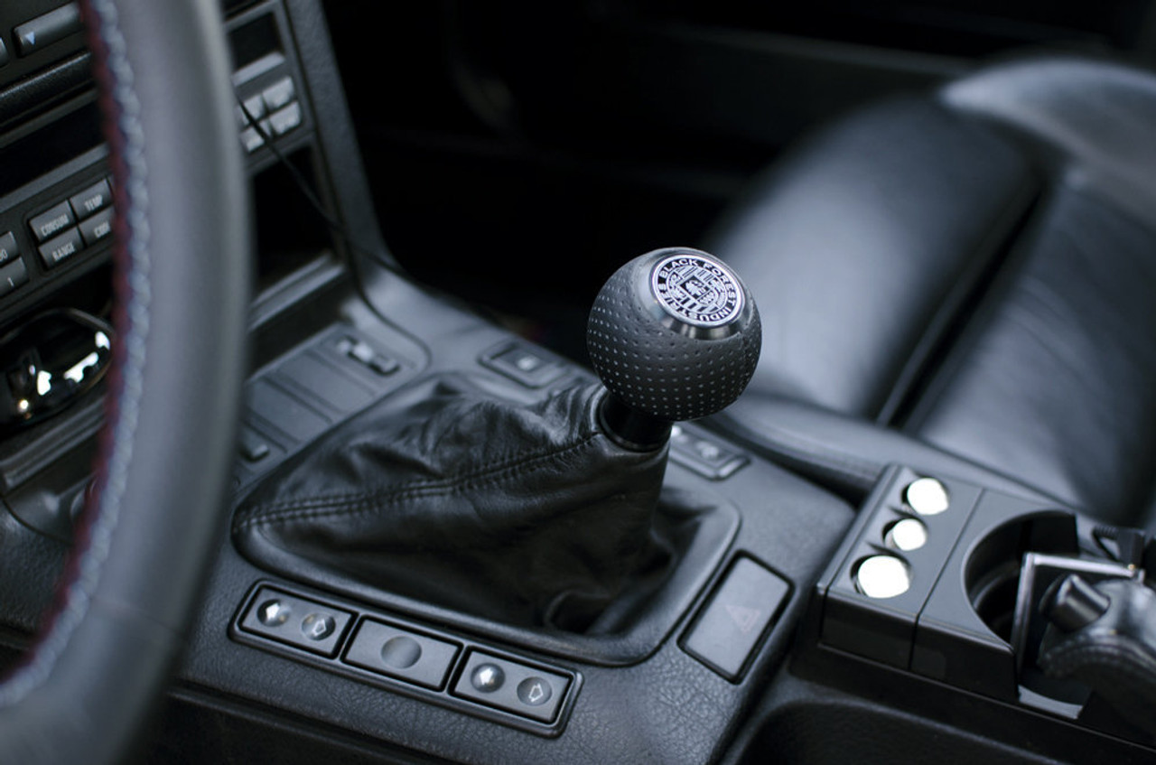 BFI GS2 Heavy Weight Shift Knob - Black Air Leather - Black Anodized (VW/Audi Fitment)