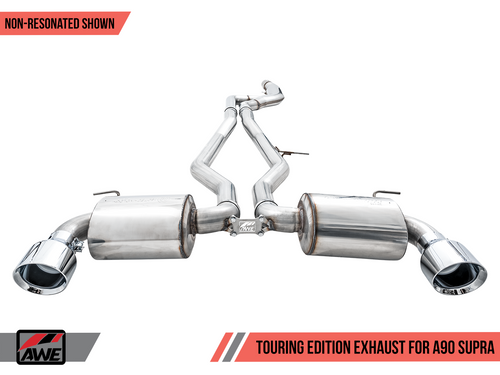 "AWE Resonated Touring Edition Exhaust for A90 Supra - 5"" Chrome Silver Tips"