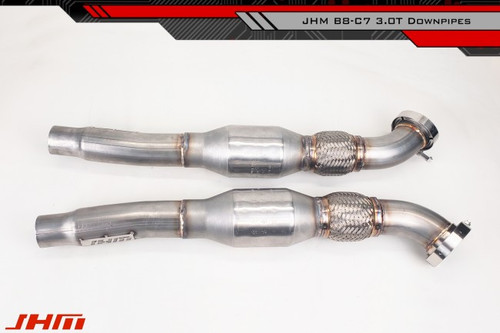 "JHM Exhaust - High-Flow Cat Downpipes with Integrated Baffle System (JHM) for the B8 S4-S5 Q5-SQ5 C7 A6-A7 3.0T and 4.2L FSI w/ 2.5"" CB Connection"