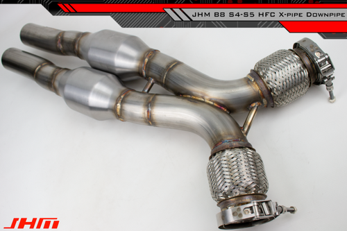 "JHM Exhaust - High-Flow Cat Downpipes with X-Pipe (JHM) for the B8 S4-S5 Q5-SQ5 C7 A6-A7 3.0T and 4.2L FSI w/ 2.5"" CB Connection"