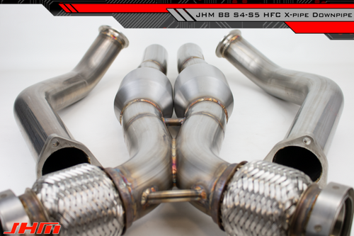 "JHM Exhaust - High-Flow Cat Downpipes with X-Pipe and Integrated Baffle System (JHM) for the B8 S4-S5 Q5-SQ5 C7 A6-A7 3.0T 4.2L w/ 2.5"" CB Connection"