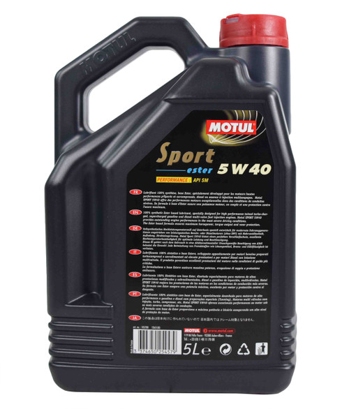 Motul Sport 5W40 100% Synthetic Engine Oil (5L)