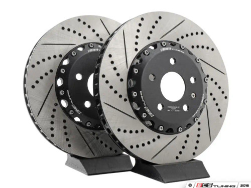 ECS Tuning Front and Rear Cross-Drilled & Slotted 2-Piece Brake Rotor Kit (340x30/310x22)