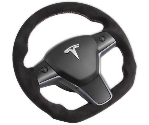 Rekudo Steering Wheel - Alcantara Wrapped for 2017-2021 Tesla Model 3, and 2020-2021 Tesla Model Y