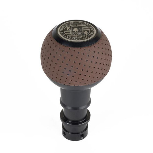 BFI GS2 DSG/Auto Heavy Weight Shift Knob - Schwarz - Audi Nougat Brown Perforated Leather (VW/Audi Fitment)