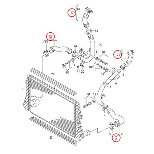 034 Motosport Silicone Boost Hose Kit, MkVII Volkswagen GTI & Golf R, 8V Audi A3/S3/TT/TTS, MQB 2.0T Gen 3