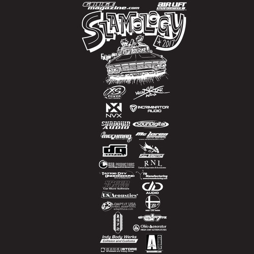 Slamology 2017 T-Shirt Front Design with Key Sponsor Logos