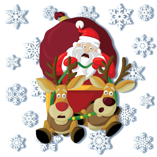 ArtiClings Crashing Santa Non-Adhesive Vinyl Stickers with 28 Snowflake Christmas Decor Window Clings