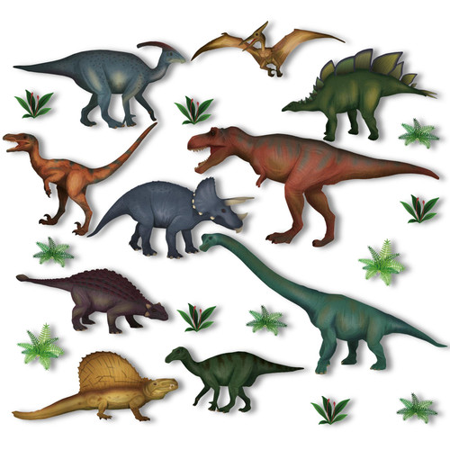 10 Dinosaur & Jurassic Plant Non-adhesive Static Stickers Window Clings by Articlings