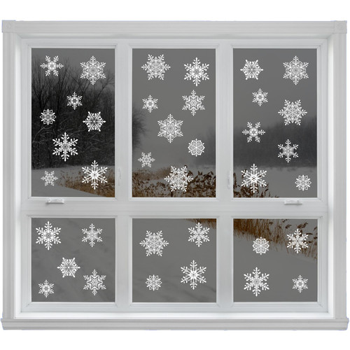 42 Elegant Snowflake Christmas Decor Glueless PVC Sticker Window Clings