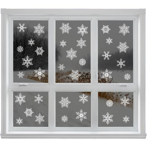 42 Elegant Snowflake Christmas Decor Glueless PVC Sticker Window Clings