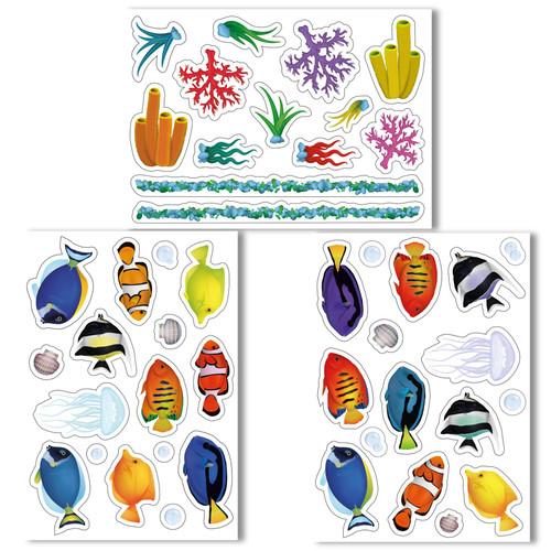 Articlings Beautiful Fish tank Non-adhesive Window Clings