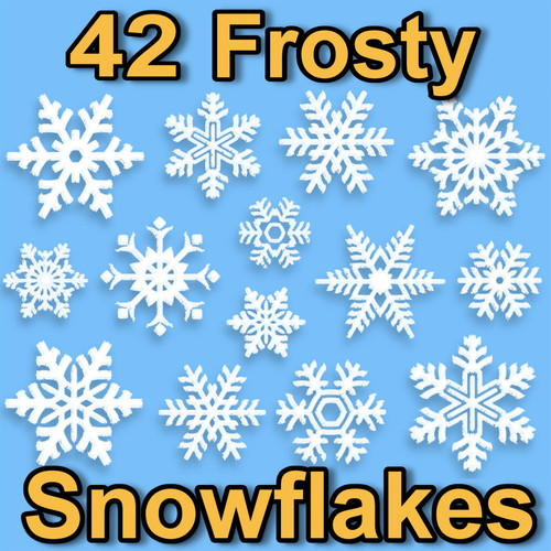 42 Snowflake Window Glueless PVC Clings 2D Frosty Design Stickers by Articlings