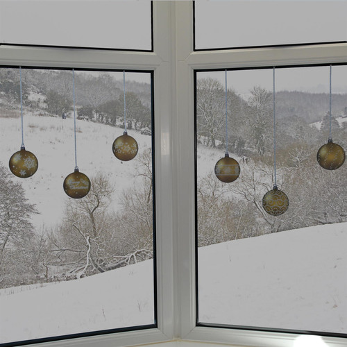 Articlings 12 x Gold Bauble Window Clings with Glitter Patterns and Strings