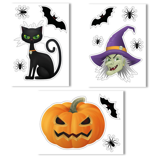 Witches Head, Pumpkin, Black Cat, Bats and Spiders Halloween Non-adhesive Window Clings by Articlings