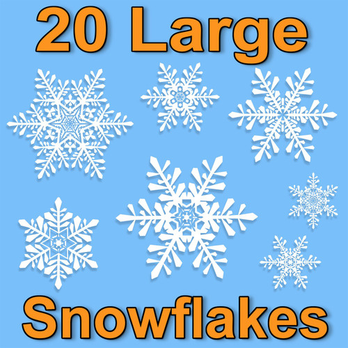 20 Large Snowflake Christmas Decor Glueless PVC Window Clings