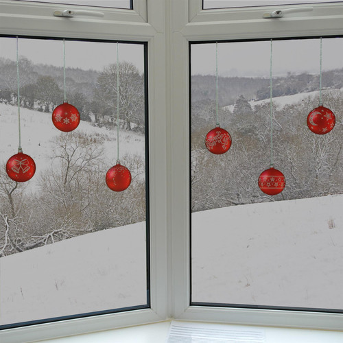 Articlings 12 x Red Bauble Window Clings with Glitter Patterns and Strings