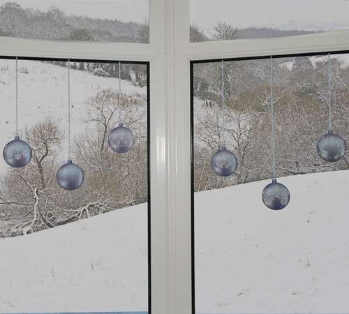 Articlings 12 x Silver Bauble Window Clings with Glitter Patterns and Strings