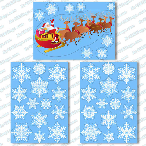 Santa on his Sleigh Window Cling with 36 Elegant Snowflake Christmas Decor Vinyl Stickers