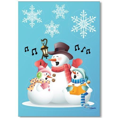 Singing Snowmen Window Cling with 32 Elegant Snowflake Christmas Decor Glueless Vinyl Stickers