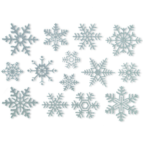 Articlings 56 Beautiful Glitter Snowflake Static Window Clings