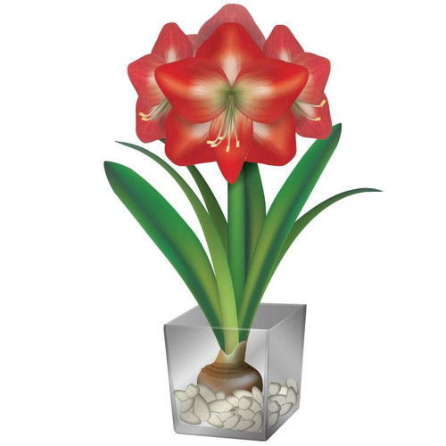 Articlings Amaryllis Flower Pot Static Clings Window Stickers, Decoration for Home and Garden