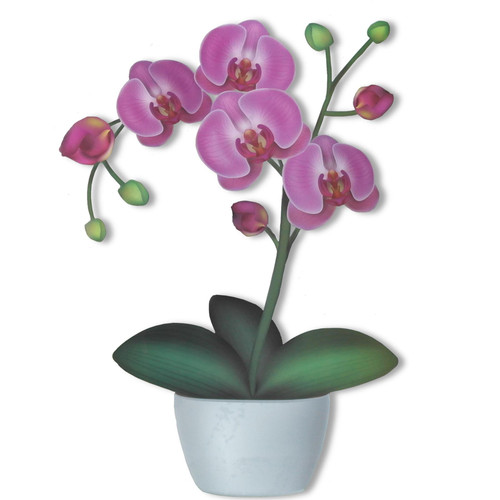 Articlings Orchid Flower Pot Static Clings Window Stickers, Decoration for Home and Garden
