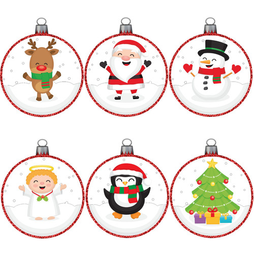 Articlings Christmas Picture Baubles Window Stickers, Winter Holiday Clings, Decor with Glitter Patterns and Strings