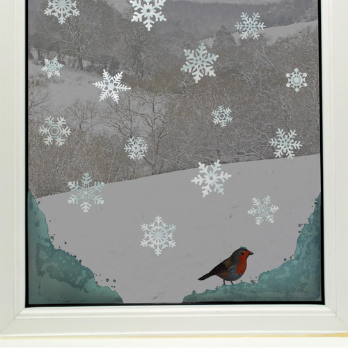 4 Snow Corners with Robin and 36 Snowflake Non-Adhesive Vinyl Window Clings, Christmas Decor Stickers