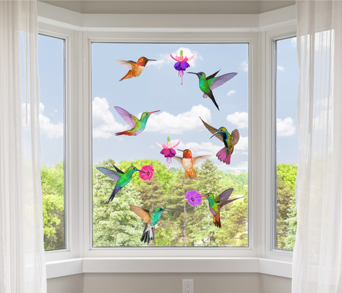 12 Hummingbird Window Clings Non Adhesive Vinyl Stickers Beautiful Glass Safety Sticker the Decals can Deter Birds from Window Collision Strike