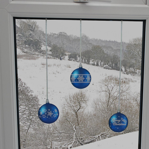 Articlings 12 x Blue Bauble Window Clings with Glitter Patterns and Strings