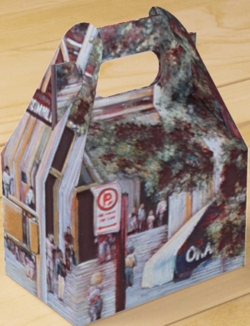 Original Painting by New York City Artist, Gaye Elise Beda.  www.gayeelisebeda.store     gable favor box