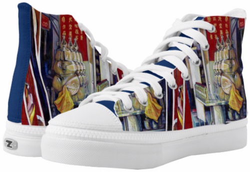 Original Painting by New York City Artist, Gaye Elise Beda.  www.gayeelisebeda.store     High-Top Sneakers