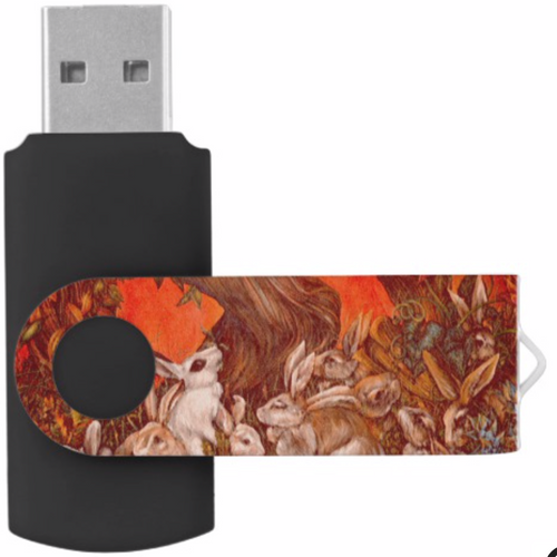 Orginal Painting by Well Seasoned New York City Artist, Gaye Elise Beda, Swivel Flash Drives