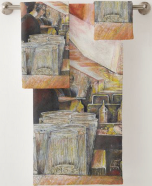 Original Painting by New York City Artist, Gaye Elise Beda. Bath Towel Sets  Check it out. www.gayeelisebeda.store