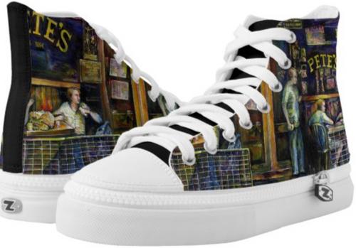 Original Painting by New York City Artist, Gaye Elise Beda. High-Top Sneakers   www.gayeelisebeda.store     Check it out.