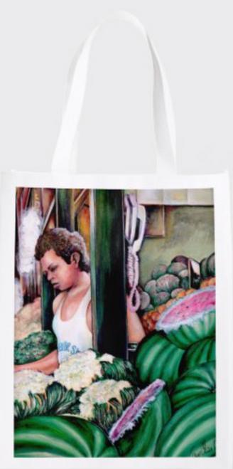 Original Painting by New York City Fine Art Artist, Gaye Elise Beda.  www.gayeelisebeda.store     Re-useable Grocery Bags  31.25