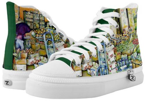 Original Painting by New York City Artist, Gaye Elise Beda.  www.gayeelisebeda.store     High-Top Sneakers