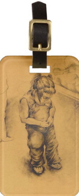 Original Drawing by New York City Artist, Gaye Elise Beda. Luggage tags www.gayeelisebeda.store Check it out.