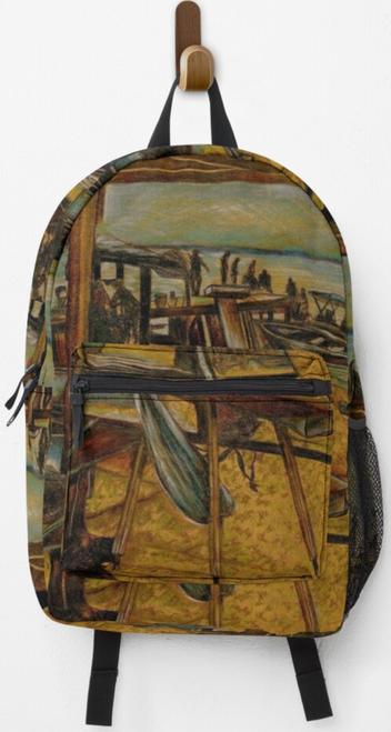 Original Painting by New York City Artist, Gaye Elise Beda, Back Packs, elegant, artistic  See gayeelisebeda.store