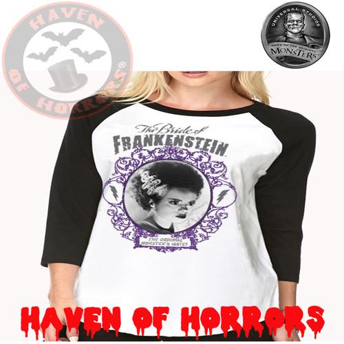 8763ac33 Universal Monsters Framed Bride of Frankenstein Raglan Top
