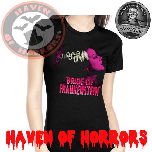 37ce6543 Universal Monsters Pink Bride of Frankenstein Tee - havenofhorrors