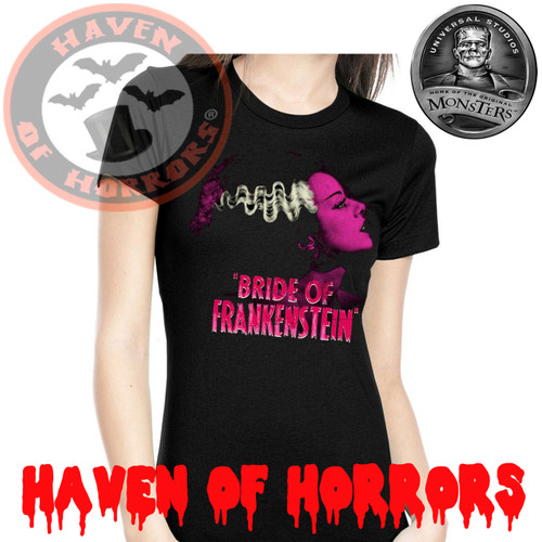 Universal Monsters Pink Bride of Frankenstein Tee